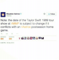 I think the Taylor Swift concert is safe!: Houston Astros  Follow  Castros  Note: the date of the Taylor Swift 1989 tour  show at MMP is subject to change if it  conflicts with an  HAstros postseason home  game.  RETWEETS FAVORITES  584  389  5:48 PM 10 Dec 2014 I think the Taylor Swift concert is safe!