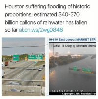 "Friends, Fucking, and Memes: Houston suffering flooding of historic  proportions, estimated 340-370  billion gallons of rainwater has fallen  so far abcn.ws/2wg0846  IH-610 East Loop at MARKET STRI  泓610 E Loop @ Rotot 50α  08/27/2017 07: 15: 35  Copyright 2017 Houston Tran 🙏🏾 Repost @feministastic @yes.all.gals: ""please keep Houston in your thoughts-prayers. we really fucking need it. my house hasn't flooded yet but so so many of my friends have lost everything and 5 people have died so far. and this is only the first day of rain- it's supposed to keep raining until at least tuesday-wednesday. my city is going to be destroyed."""