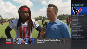Head, Memes, and Monster: HOUSTON TEXANS  2019 TRAINING CAMP  Training Camp Location:  Houston,TX  Head Coach:  Bill O'Brien  Offensive Coord:  Tim Kelly  NEL  Defensive Coord:  Romeo Crennel  NFLN  Special Teams Coord:  Brad Seely  2018 W-L: 11-5  (Won AFC South)  Last Playoff App: 2018  INSIDE  TRAINING  CAMPLIVE  Houston Texans Training Camp  Houston, TX  AState Farm .@DeAndreHopkins talks potential of a healthy @HoustonTexans offense, the importance of @will_fuller7 return and his personal expectations coming off a monster 2018 campaign. Via @nflnetwork https://t.co/vlOm1uVwSY