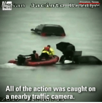 INCREDIBLE: Traffic cameras captured the moment two people, who were trapped on top of their vehicle on State Highway 99, were rescued by boat.: Houston, Texas  FOX  NEWS  All of the action was caught orn  a nearby traffic camera. INCREDIBLE: Traffic cameras captured the moment two people, who were trapped on top of their vehicle on State Highway 99, were rescued by boat.