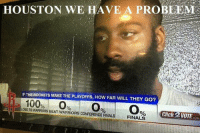 Houston fans have no faith 😂: HOUSTON WE HAVE A PROBLEM  IF THE ROCKETS MAKE THE PLAYOFFS, HOW FAR WILL THEY GO?  100  LOSE TO WARRIORS BEAT WARRIORS CONFERENCE FINALS  Click VOTE  FINALS Houston fans have no faith 😂