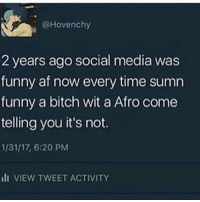 Memes, Afros, and 🤖: @Hovenchy  2 years ago social media was  funny af now every time sumn  funny a bitch wit a Afro come  telling you it's not.  1/31/17, 6:20 PM  III VIEW TWEET ACTIVITY Either a black bitch in her 30s or a white bitch with blue hair in her late 20s