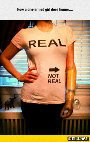 Tumblr, Blog, and Girl: How a one-armed girl does humor  REAL  NOT  REAL  THE META PICTURE awesomesthesia:  One-Armed Humor