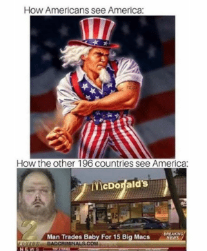 Little bit of both.: How Americans see America:  How the other 196 countries see America  EWS  BREAKING  Man Trades Baby For 15 Big Macs  BADCRIMINALS.COMau  LCM  NEWS Little bit of both.