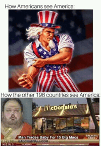 America: How Americans see America:  it  How the other 196 countries see America  McDonalds  Man Trades Baby For 15 Big Macs  BREAKING  NEWS  CLUBADCRIMINAL S.COMa  NEWS