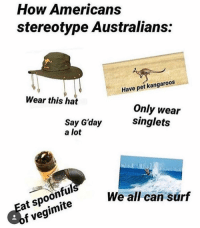 Memes, 🤖, and How: How Americans  stereotype Australians:  Wear this hat  Have pet kangaroos  Say G'day  a lot  Only wear  singlets  Eat spoonful  of vegimite  We all can surf Anything else you'd add?