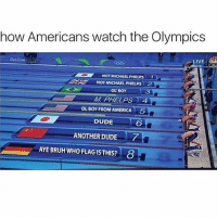 Well how else would we watch them: how Americans watch the Olympics  LIVE  NOT MICHAEL PHELPs  1  NOT MICHAEL PHELPS 2  OL BOY  MI PHELPS TA  OL BOY FROM AMERICA  5  DUDE  ANOTHER DUDE  AYE BRUH WHO FLAG ISTHIS? 8 Well how else would we watch them