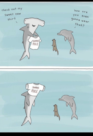 Cute, Sharks, and How: how  are  check out my  You  even  9onna we ar  Sweet new  shirt  that?  SHARKS  RULE  SHARKS  RULE This is cute via /r/wholesomememes https://ift.tt/2YZX1Ow