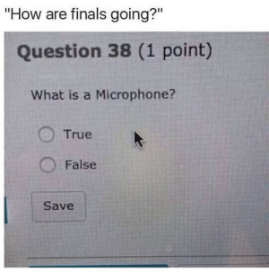 "the answer is false: ""How are finals going?""  Question 38 (1 point)  What is a Microphone?  True  False  Save the answer is false"