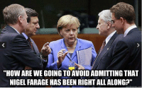 """""""HOW ARE WE GOING TO AVOIDADMITTING THAT  NIGEL FARAGE HAS BEEN RIGHT ALLALONG?""""  quick meme com"""