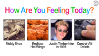 Justin TImberlake, Control, and Today: How Are You Feeling Today?  Moldy ShoeEndless Justin Timberlake Control-Alt-  Hot Wings  in 1998  Delete