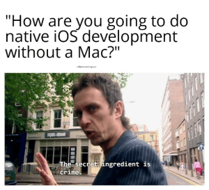 "I'm not going to steal a mac…: ""How are you going to do  native iOS devēlopment  without a Mac?""  wMaleficentComputer  avi-3mls  The secret ingredient is  crime I'm not going to steal a mac…"