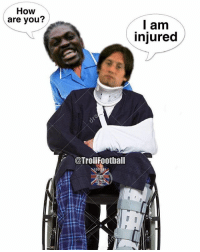 """Memes, Emmanuel Adebayor, and 🤖: How  are you?  l am  injured  @Trollfootball Emmanuel Adebayor on Tomáš Rosický: 'If you said as much as """"how are you"""" to him, he would then be injured' 😂😢"""