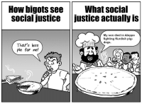 SJW's are stupid >:P: How bigots see What social  social justice justice actually is  My son died in Aleppo  fighting Kurdish pig  dogs.  That's less  pie for me! SJW's are stupid >:P