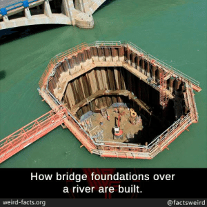 Foundations: How bridge foundations over  a river are built.  weird-facts.org  @factsweird