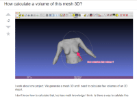Work, How To, and Math: How calculate a volume of this mesh 3D?  -2  How calculate this volume ?  I work about one project. We generate a mesh 3D and I need to calculate few volumes of an 3D  object.  I don't know how to calculate that, too less math knowledge I think. Is there a way to calulate this Funniest Stackoverflow question Ive come across!