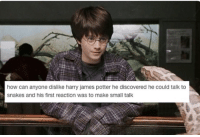 Harry Potter, Snakes, and How: how can anyone dislike harry james potter he discovered he could talk to  snakes and his first reaction was to make small talk Harry making small talk.