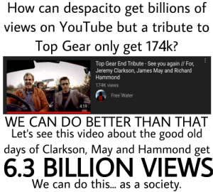 James May, Jeremy Clarkson, and Richard Hammond: How can despacito get billions of  views on Youlube but a tribute to  Top Gear only get 174k?  Top Gear End Tribute - See you again // For,  Jeremy Clarkson, James May and Richard  Hammond  174K views  Free Water  4:19  WE CAN DO BETTER THAN THAT  Let's see this video about the good old  days of Clarkson, May and Hammond get  6.3 BILLION VIEWS  We can do this... as a society. Give a tribute to the good bois