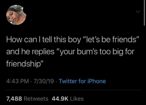 "Friends, Iphone, and Twitter: How can I tell this boy ""let's be friends""  and he replies ""your bum's too big for  friendship""  4:43 PM 7/30/19 Twitter for iPhone  7,488 Retweets 44.9K Likes Another brother trying to avoid the friend zone by all means."
