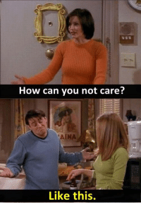 - FRIENDS (TV Show)   Via ~ The Best of TV: How can you not care?  Like this. - FRIENDS (TV Show)   Via ~ The Best of TV