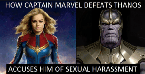 Thanos vs Captain Marvel: HOW CAPTAIN MARVEL DEFEATS THANOS  ACCUSES HIM OF SEXUAL HARASSMENT Thanos vs Captain Marvel