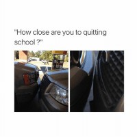 """School, Quite, and Girl Memes: """"How close are you to quitting  school?"""