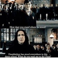 Dumbledore, Funny, and School: How dare you stand where he stood?  e on  a n m alfoy  Dumbledore has stood everywhere in this  damn school. What do you want me to do? Float?