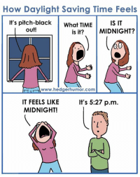 Daylight Savings Time, Memes, and Ups: How Daylight Saving Time Feels  It's pitch-black  What TIME  IS IT  Out!  is it? MIDNIGHT?  00  www.hedgerhumor.com  IT FEELS LIKE  It's 5:27 p.m.  MIDNIGHT! Daylight Saving Time is this Sunday in the U.S. So this will be me all next week.   [P.S. I created my newsletter to entertain you. Sign up here:  https://adriennehedgerblog.wordpress.com/newsletter-archive/]