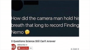 Really makes you wonder, man 🤔: How did the camera man hold his  breath that long to record Finding  Nemo  0 Questions Science Still Can't Answer  10  Alltime10s  Subacribe  3.742.2 Really makes you wonder, man 🤔