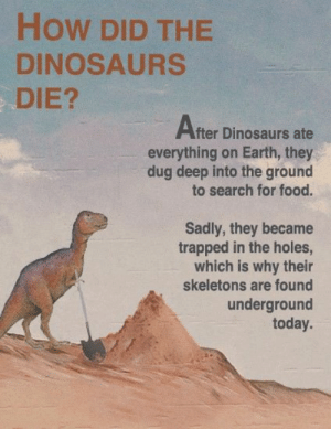 Food, Holes, and Dinosaurs: How DID THE  DINOSAURS  DIE?  After Dinosaurs ate  everything on Earth, they  dug deep into the ground  to search for food.  Sadly, they became  trapped in the holes,  which is why their  skeletons are found  underground  today.