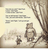 "🙆: ""How did you vote?"" Said Pooh.  ""Leave,"" said Piglet.  ""I voted remain  said Pooh.  ""Are we still friends?"" Said Piglet.  ""Yes...yes we're still friends  said Pooh  ""Good,"" said Piglet. ""Let's go and get  pissed 🙆"