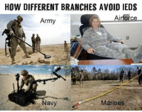America, Drone, and Memes: HOW DIFFERENT BRANCHES AVOID IEDS  Airforce  Army  avy army marines navy airforce ied improvisedexplosivedevice bomb usmc usarmy usnavy usn usaf aimhigh minesweeper drone pikepole kickback feetup avoidingieds military usa america