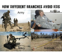 army vs marines: HOW DIFFERENT BRANCHES AVOID IEDS  Airforce  Army  Navy  Marines