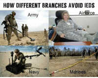 HOW DIFFERENT BRANCHES AVOID IEDS  Airforce  Army So have you found IEDs ? 🇺🇸🇺🇸🇺🇸🇺🇸🇺🇸🇺🇸🇺🇸🇺🇸🇺🇸🇺🇸🇺🇸 - ❎ DOUBLE TAP pic 🚹 TAG your friends 🆘 DM your Pics-Vids 📡 Check My IG Stories 💥Check the link in Bio 👉@usveteranfeeds 🔥Follow us @usveteranfeeds - - -🇺🇸🇺🇸🇺🇸🇺🇸🇺🇸🇺🇸🇺🇸🇺🇸 usveteranfeeds veteranowned armylife armystrong hooah battlebuddies infantry gruntlife 0341 futuremarine evac 2ndamendment 9line militaryfitness militaryownedandoperated usace usmc uscg supportthetroops usarmy militarylove usmilitaryacademy semperfi oorah usveterans usveteran veterano veteranos