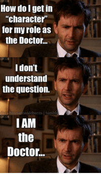 Memes, The Doctor, and Bogs: How do get in  character  for my role as  the Doctor.  BOG  I don't  understand  the question.  vidtennan  tumbl  BEA  I AM  the  Doctor..