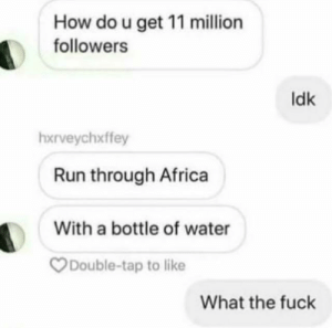 Africa, Dank, and Memes: How do u get 11 million  followers  ldk  hxrveychxffey  Run through Africa  With a bottle of water  Double-tap to like  What the fuck But there is only 7 million people on earth by BossToG0 MORE MEMES