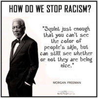"""Such ,a brillant man: HOW DO WE STOP RACISM?  """"Squint just enough  that you can't see  the color of  people's skin, but  can still see whether  or not they are being  nice  MORGAN FREEMAN Such ,a brillant man"""