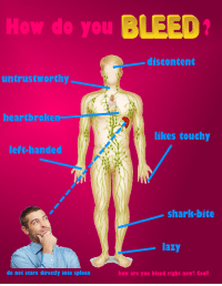 Lazy, Shark, and Cool: How do you BLEED  discontent  untrustworthy  heartbroken  likes touchy  left-handed  shark-bite  lazy  do not stare directly into spleen  how are you bleed right now? Cool