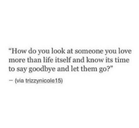 "Life, Love, and Time: ""How do you look at someone you love  more than life itself and know its time  to say goodbye and let them go?""  -(via trizzynicole15)"
