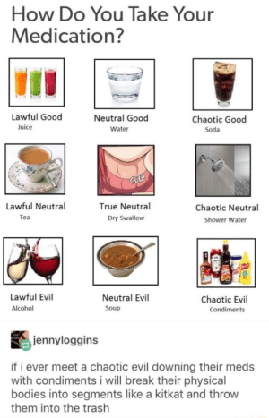 I've taken mine with Franks Red Hot: How Do You Take Your  Medication?  Lawful Good  Neutral Good  Chaotic Good  Juice  Water  Soda  CULP  Lawful Neutral  True Neutral  Chaotic Neutral  Tea  Dry Swallow  Shower Water  Lawful Evil  Neutral Evil  Chaotic Evil  Alcohol  Soup  Condiments  jennyloggins  if i ever meet a chaotic evil downing their meds  with condiments i will break their physical  bodies into segments like a kitkat and throw  them into the trash I've taken mine with Franks Red Hot