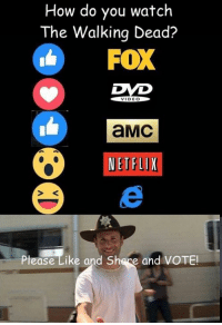 Memes, Netflix, and News: How do you watch  The Walking Dead?  FOX  VIDEO  aMC  NETFLIX  Please Like and S  e and VOTE! How do you watch #TheWalkingDead? The Walking Dead fans, please actually VOTE today! :) (y)  http://www.egvoproductions.com/news-blog/the-walking-dead-season-7-premiere-the-day-will-come-when-you-wont-be-on-amc-10-23-2016