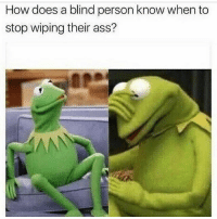 To all my blind followers 👌✌️👍👇🖖🤚🤙👋🖖: How does a blind person know when to  stop wiping their ass? To all my blind followers 👌✌️👍👇🖖🤚🤙👋🖖