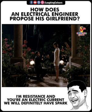 Will Definitely: HOW DOES  AN ELECTRICAL ENGINEER  PROPOSE HIS GIRLFRIEND?  I'M RESISTANCE AND  YOU'RE AN ELECTRIC CURRENT  WE WILL DEFINITELY HAVE SPARK