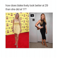 She looks amazing in both 🙌🏼 Tag someone who always looks Beaut 💕: how does blake lively look better at 29  than she did at 17?  ten  Fox C  FOX  Cn  eict She looks amazing in both 🙌🏼 Tag someone who always looks Beaut 💕
