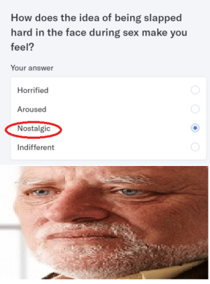 OKC Nibbas be like: How does the idea of being slapped  hard in the face during sex make you  feel?  Your answer  Horrified  Aroused  Nostalgic  Indifferent OKC Nibbas be like