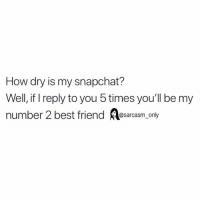 SarcasmOnly: How dry is my snapchat?  Well, if I reply to you 5 times you'll be my  number 2 best friend esarcasm only SarcasmOnly
