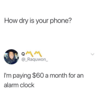 Blackpeopletwitter, Clock, and Phone: How dry is your phone?  @_Raquwon  I'm paying $60 a month for an  alarm clock Pretty much (via /r/BlackPeopleTwitter)