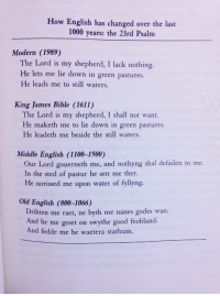 salparadisewasright: denchgang:  bluecaptions:  How English has changed in the past 1000 years.  the big mans a lad i have fuck all, he lets me have a kip in a field he showed me a pond   (x) : How English has changed over the last  1000 years: the 23rd Psalm  Modern (1989)  The Lord is my shepherd, I lack nothing.  He lets me lie down in green pastures.  He leads me to still waters.  King James Bible (1611)  The Lord is my shepherd, I shall not want.  He maketh me to lie down in green pastures.  He leadeth me beside the still waters.  Middle English (1100-1500)  Our Lord gouerneth me, and nothyng shal defailen to me.  In the sted of pastur he sett me ther.  He norissed me upon water of fyllyng.  Old English (800-1066)  Drihten me raet, ne byth me nanes godes wan.  And he me geset on swythe good feohland.  And fedde me be waetera stathum. salparadisewasright: denchgang:  bluecaptions:  How English has changed in the past 1000 years.  the big mans a lad i have fuck all, he lets me have a kip in a field he showed me a pond   (x)