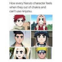 Naruto, How, and Character: How every Naruto character feels  when they out of chakra and  can't use ninjutsu lmaoo 💀