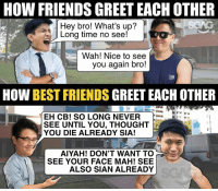 Are you friends? Or BEST FRIENDS?: HOW FRIENDS GREET EACH OTHER  Hey bro! What's up?  Long time no see!  Wah! Nice to see  you again bro!  HOW BEST FRIENDS GREET EACH OTHER  EH CB! SO LONG NEVER  SEE UNTIL YOU, THOUGHT  YOU DIE ALREADY SIA!  AIYAH! DON'T WANT TO  SEE YOUR FACE MAH! SEE  ALSO SIAN ALREADY Are you friends? Or BEST FRIENDS?